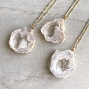 Geode Slice 14k Gold Boho Necklace